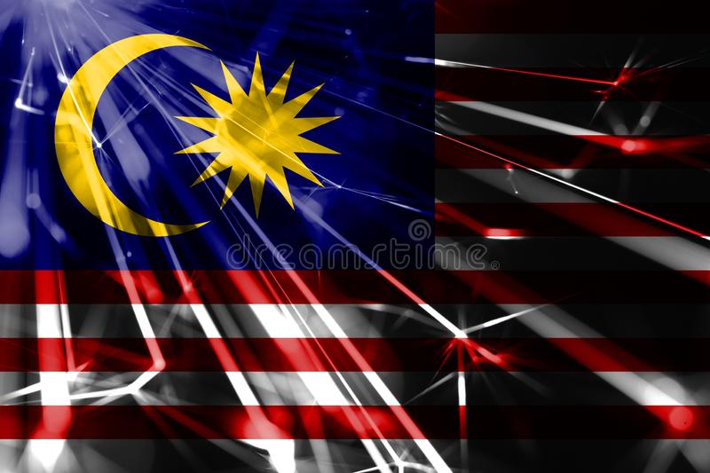 Malaysia shining fireworks sparkling flag. New Year 2019 and Christmas futuristic shiny party concept flag. Malaysia shining fireworks sparkling flag. New Year stock illustration