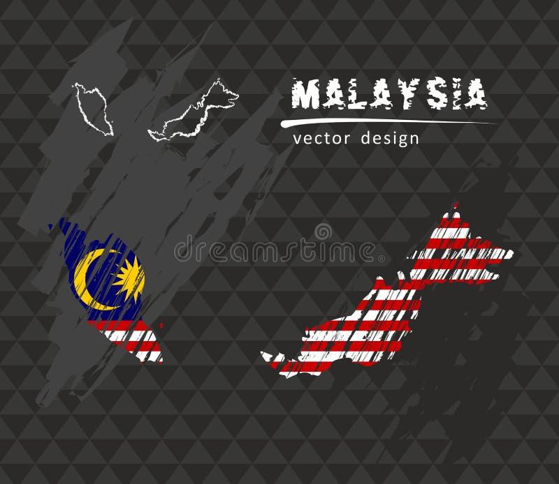 Malaysia skissar den nationella vektoröversikten med kritaflaggan Skissa drog illustrationen för krita handen vektor illustrationer