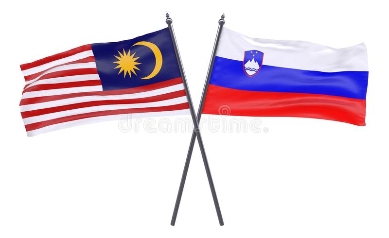 Two crossed flags stock photos