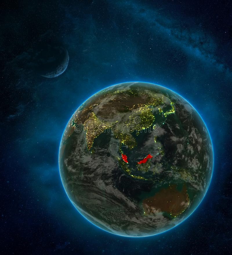 Malaysia from space on Earth at night surrounded by space with Moon and Milky Way. Detailed planet with city lights and clouds. 3D. Illustration. Elements of vector illustration