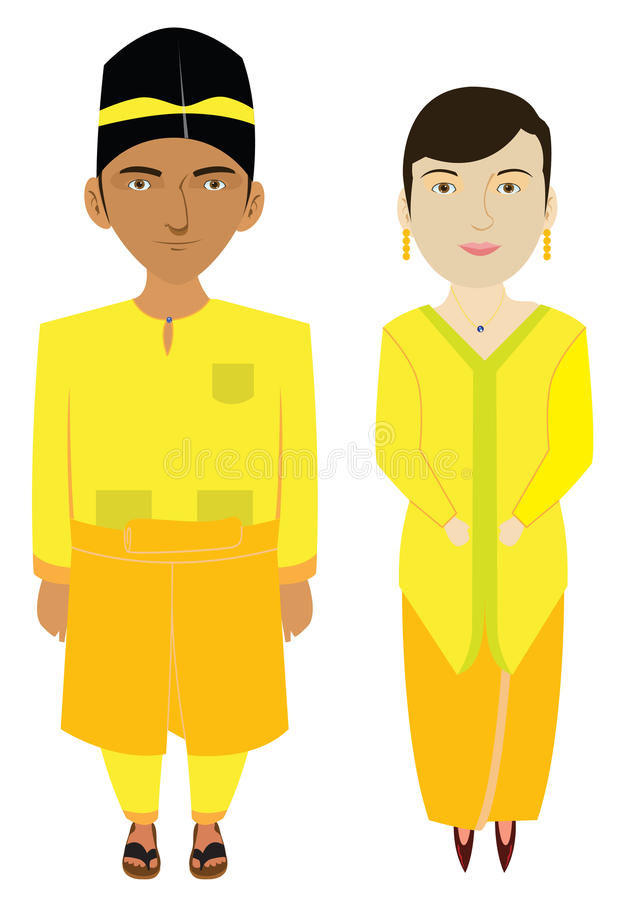 Download Malaysia Traditional Costume In Vector Stock Vector - Image: 14042928