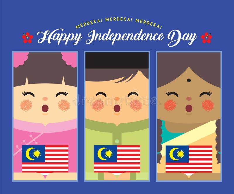 Malaysia-Unabhängigkeitstag - malaysische, indische u. chinesische Holding Malaysia-Flagge der Karikatur stock abbildung