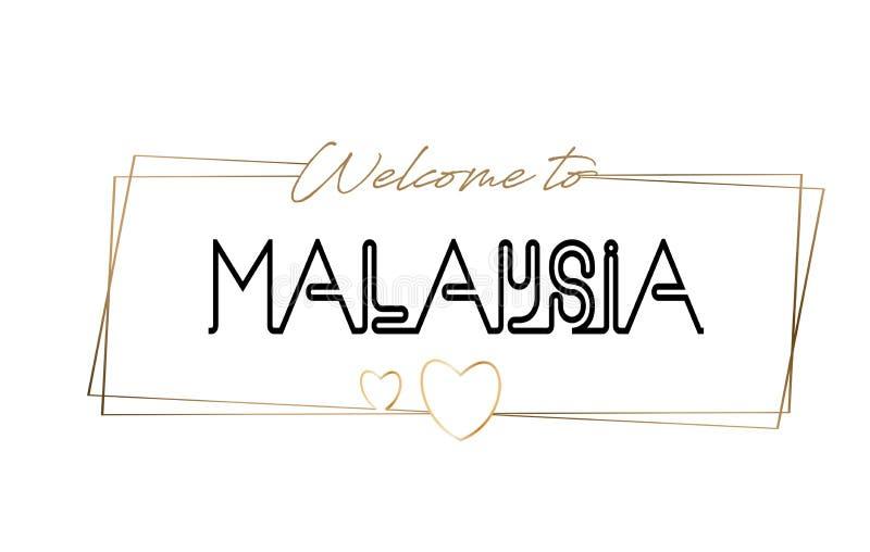 Malaysia välkomnande som smsar neon som märker typografi Ord för logotypen, emblem, symbol, vykort, logo, banervektorillustration vektor illustrationer