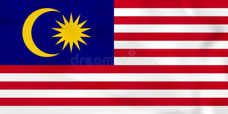 Malaysia vinkande flagga Textur för Malaysia nationsflaggabakgrund royaltyfri illustrationer