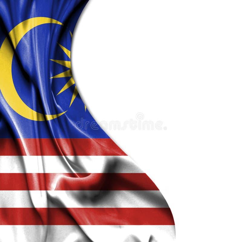 Malaysia vinkande satängflagga som isoleras på vit bakgrund royaltyfri illustrationer