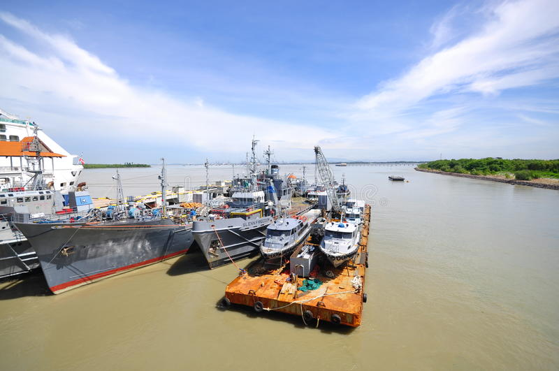 Malaysia Warship in Port Klang Harbour 1 royalty free stock photo
