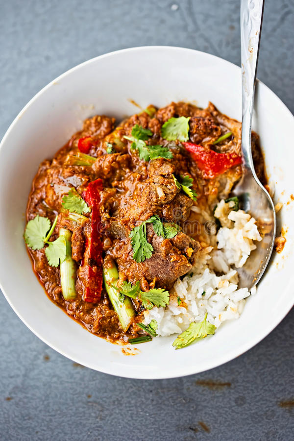 Malaysian beef curry with scallions and peppers royalty free stock photography