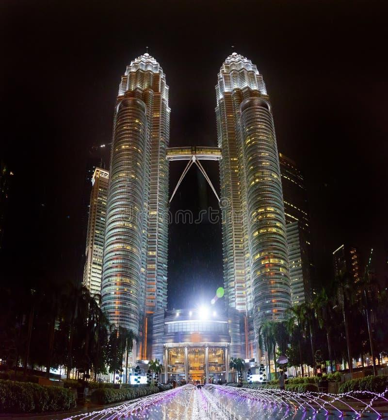 Malaysian capital Kuala Lumpur City Centre KLCC Petronas Twin To. Wers night lights royalty free stock photos