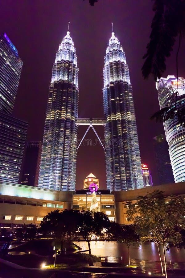 Malaysian capital Kuala Lumpur City Centre KLCC Petronas Twin To. Wers night lights royalty free stock photography