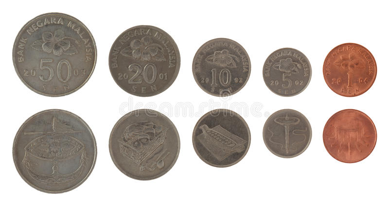 Malaysian Coins Isolated on White royalty free stock photos