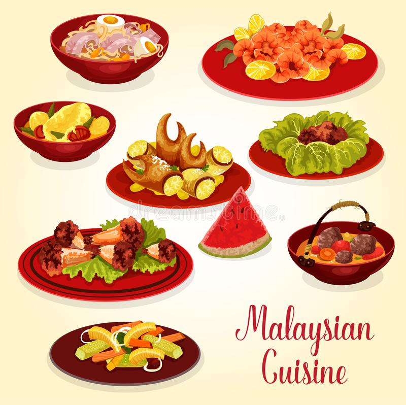 Malaysian cuisine icon of meat and seafood dish stock illustration