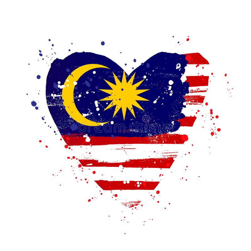 Malaysian flag in the form of a big heart royalty free illustration