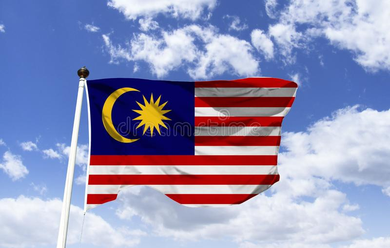 Malaysian flag mockup fluttering in the wind. royalty free stock photography