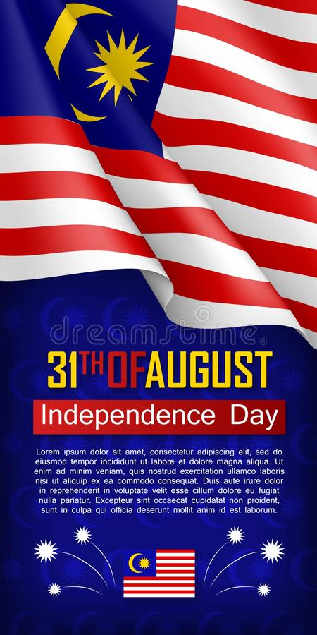 Malaysian Independence day vertical flyer vector illustration