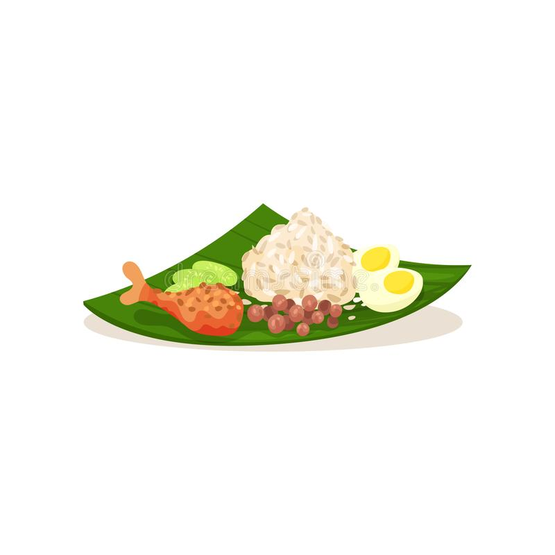 Malaysian nasi lemak on green leaf. Rice with boiled egg, chicken leg sliced cucumber and peanuts. Flat vector design. Malaysian nasi lemak on green leaf. Rice stock illustration