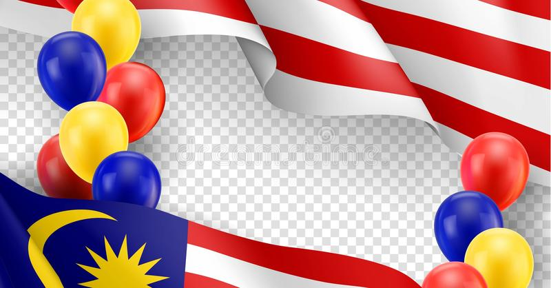 Malaysian patriotic template with copy space stock illustration