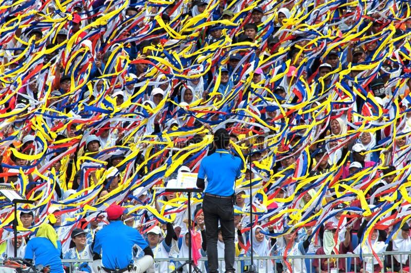Malaysian students celebrating Hari Merdeka in Malaysia, Kuala Lumpur stock photos