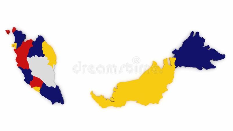 Malaysische Karte in den Farben stockbild