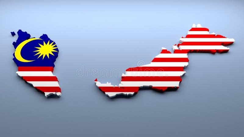 Malaysische Karte in den Staatsflaggefarben stockfotografie