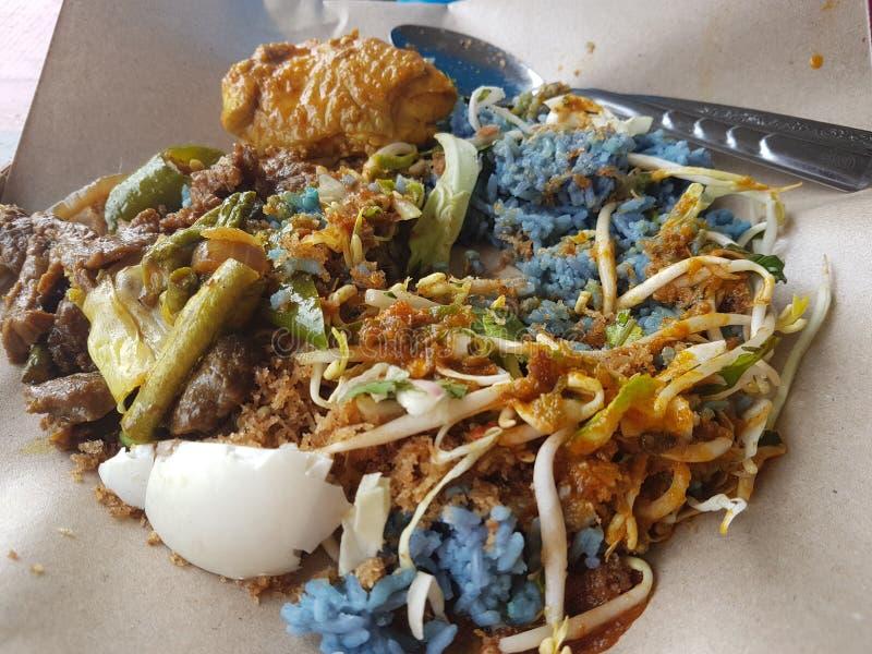 Malaysischer Nasi Kerabu zum Frühstück lizenzfreies stockfoto