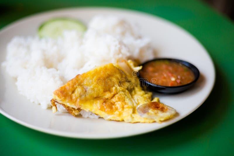 Malaysisk äggomelett med ris royaltyfri bild