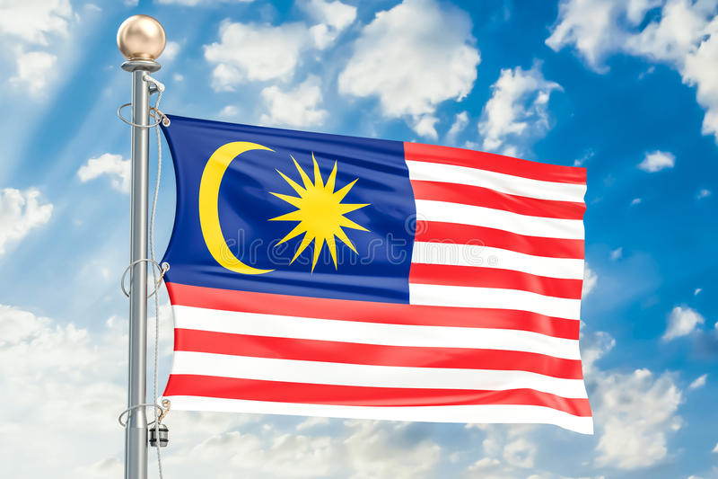 Malaysisk flagga som vinkar i blå molnig himmel, tolkning 3D stock illustrationer