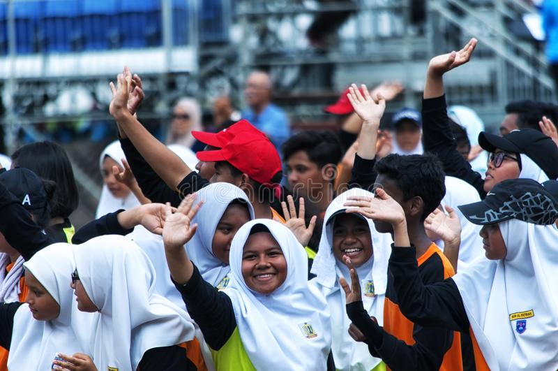 Malaysiska studenter som öva för Hari Merdeka i Malaysia, Kuala Lumpur royaltyfri bild