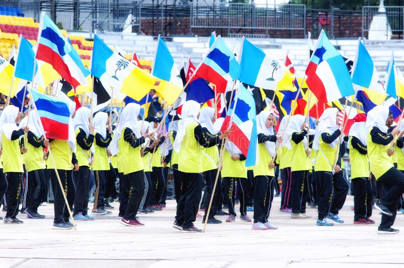 Malaysiska studenter som öva för Hari Merdeka i Malaysia, Kuala Lumpur arkivfoto