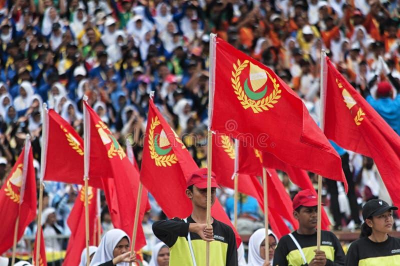 Malaysiska studenter som firar Hari Merdeka i Malaysia, Kuala Lumpur arkivfoton