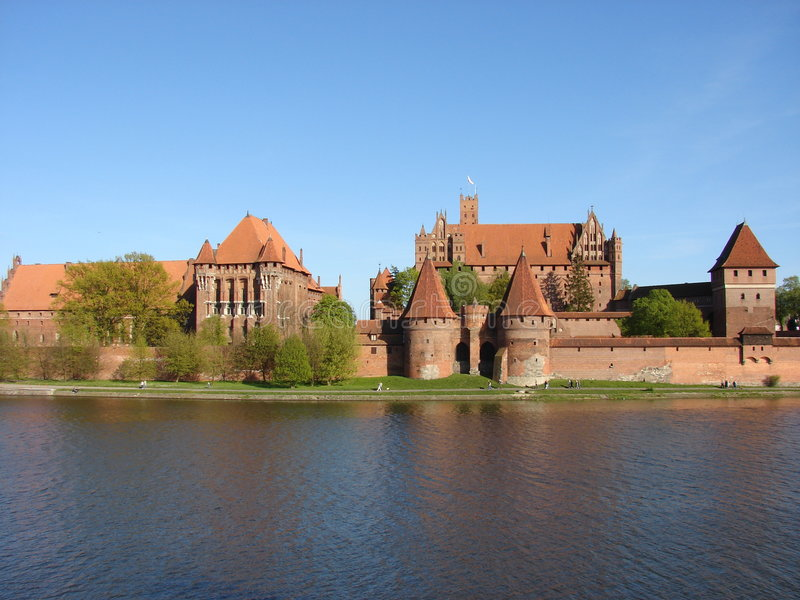 Malbork Castle. Teutonic Knights Castle Malbork from XIII century. Gothic style. The biggest in Europe. A panoramic view of the Castle from the West stock photos