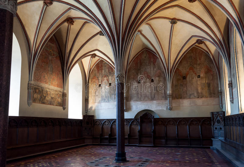 Malbork castle gothic hall. Gothic hall of the Teutonic castle Malbork in Pomerania region of Poland. UNESCO World Heritage Site. Knights fortress also known as stock photos