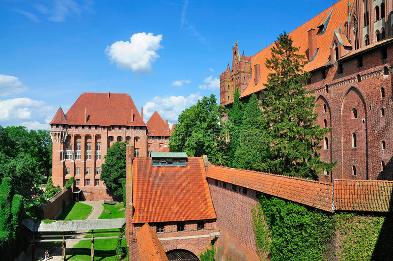 Malbork Castle, Poland. The medieval Malbork Castle in Poland, one of the largest castles in Europe that was founded by the Knights of the Teutonic Order in the royalty free stock photos