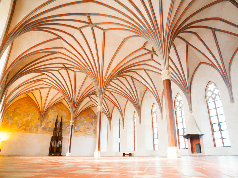 Malbork Grand Refectory. The Grand Refectory, the biggest hall in Malbork Castle with beautiful gothic rib vault ceiling, Poland royalty free stock image