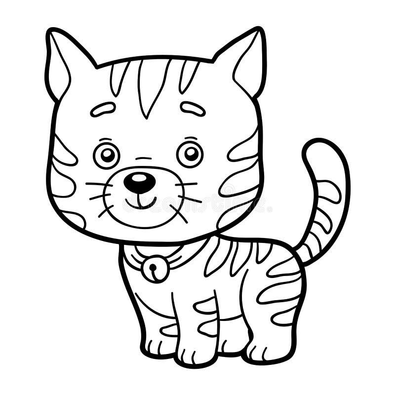 Malbuch, Färbungsseite (Katze) Vektor Abbildung - Illustration von ...