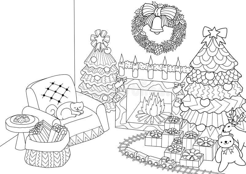 Malbuch, Färbungsseite zentangle des stilisierten Weihnachtsbaums, Kamin, Lehnsessel für Weihnachtsmann, Weihnachtskranz und pres lizenzfreie abbildung