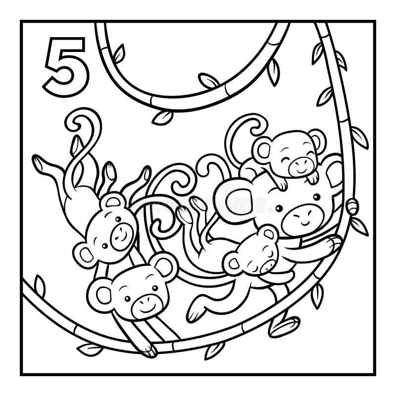 Malbuch, fünf Affen lizenzfreie abbildung