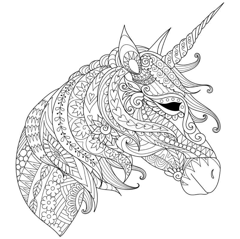 Malbuch für Erwachsene Farbtonbilder mit magischem Einhorn der Märchen, können für den Druck auf Produkt auch benutzt werden Vekt vektor abbildung