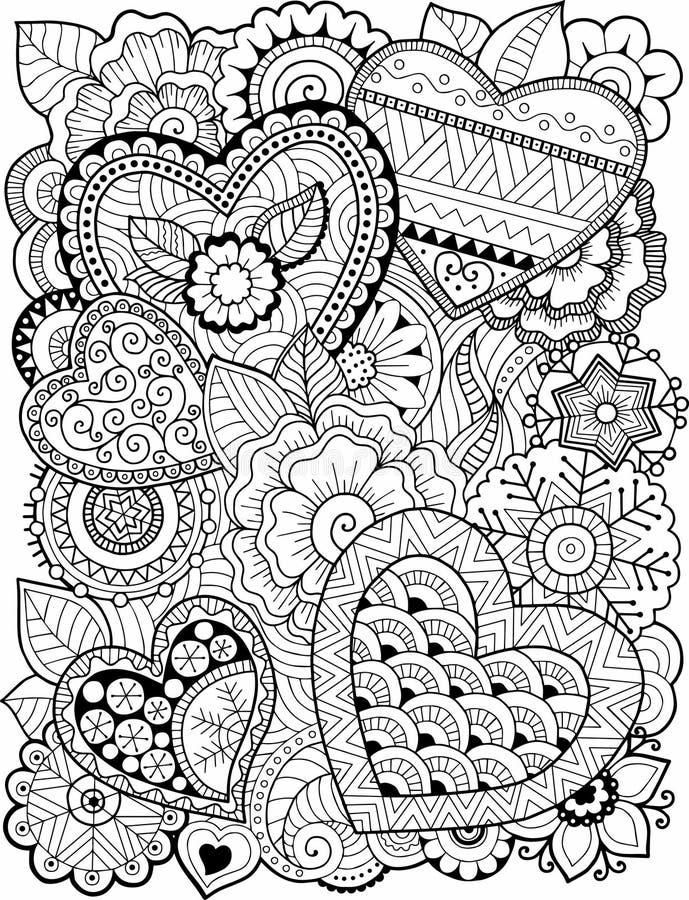 Malbuch Für Erwachsenen Innere Und Blumen Rote Rose Vektor Abbildung ...