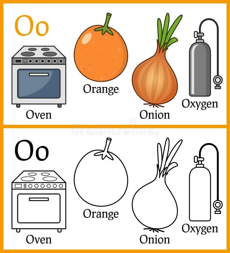 Malbuch für Kinder - Alphabet O lizenzfreie abbildung