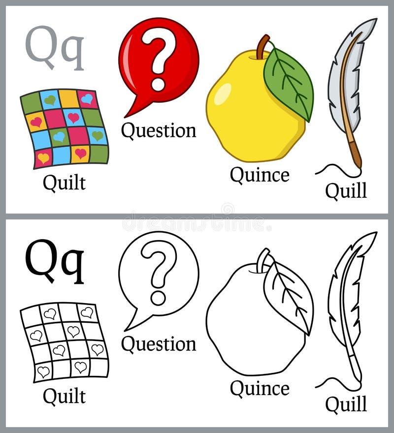 Malbuch für Kinder - Alphabet Q lizenzfreie abbildung