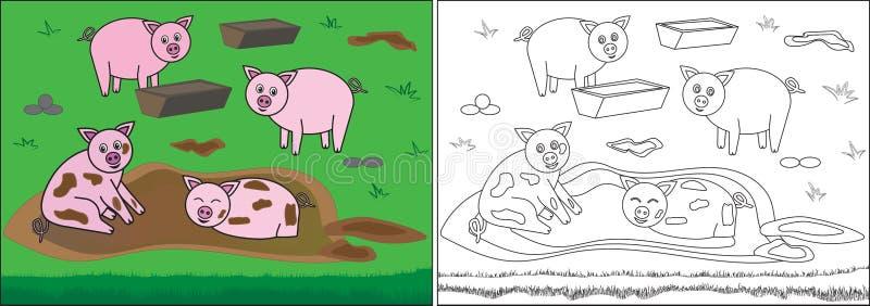 Malbuch für Kinder Schweine im Schlamm auf Bauernhof, Karikatur lizenzfreie abbildung