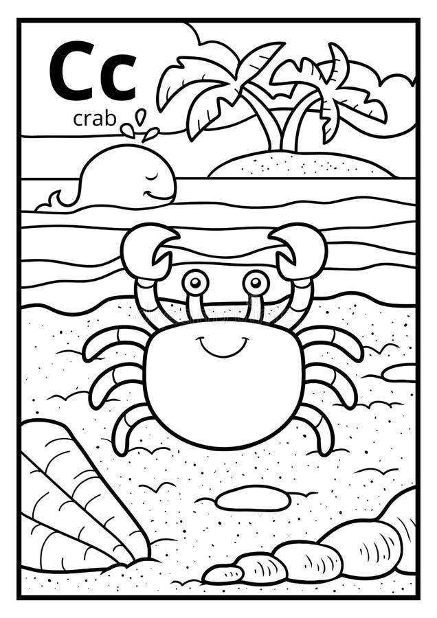 Malbuch, farbloses Alphabet Buchstabe C, Krabbe stock abbildung
