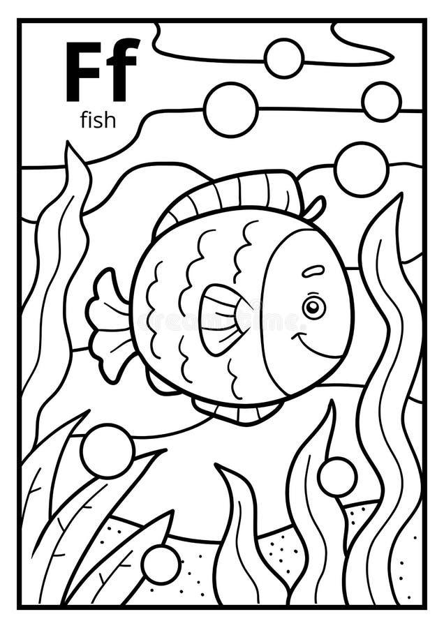 Malbuch, farbloses Alphabet Buchstabe F, Fisch stock abbildung