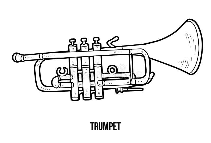 Malbuch: Musikinstrumente (Trompete) lizenzfreie abbildung