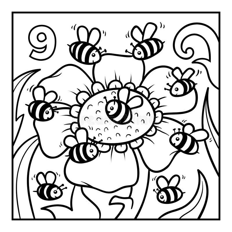 Malbuch, neun Bienen lizenzfreie abbildung