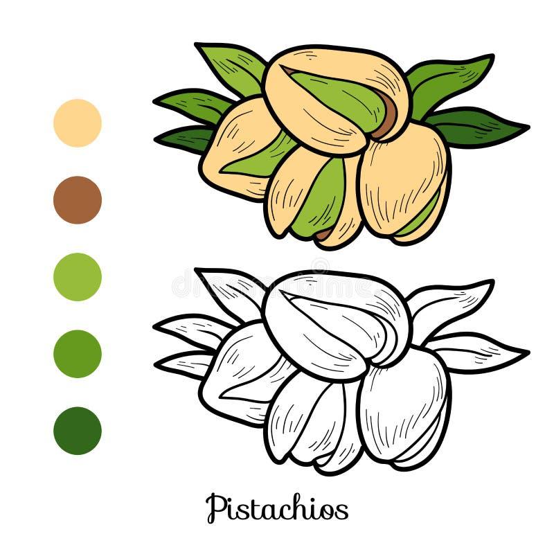 Malbuch: Obst und Gemüse (Pistazien) lizenzfreie abbildung