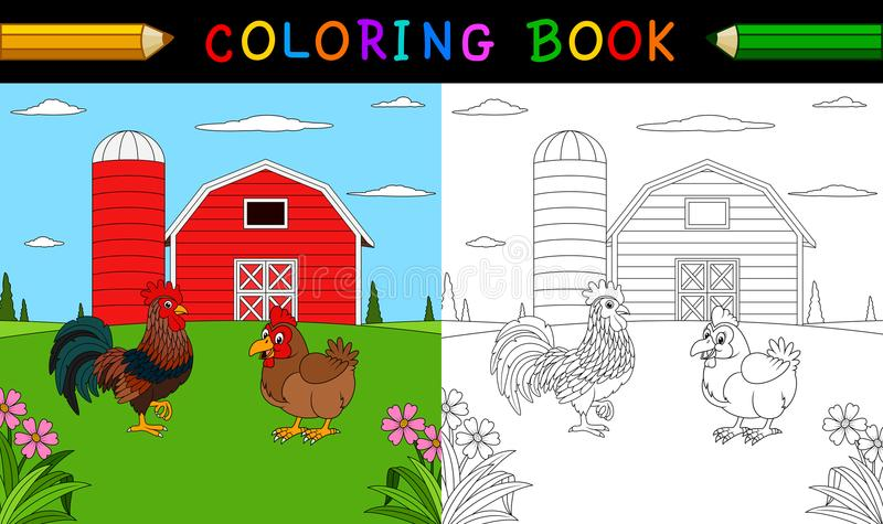 Malbuch oder Seite Netter Hahn und Henne im Bauernhof vektor abbildung
