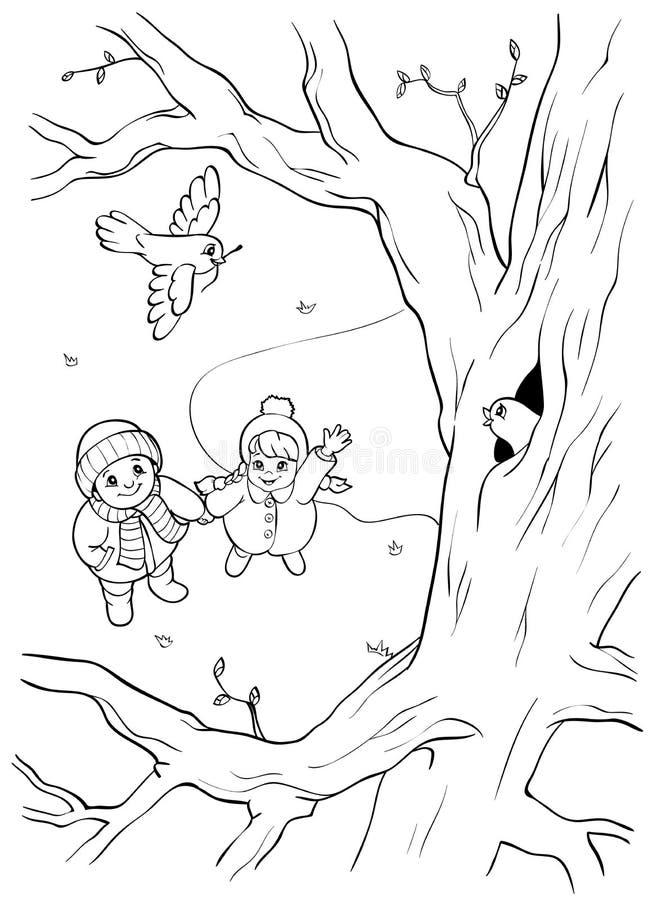 Malbuch oder Seite Wilder Vogel auf dem Baum und zwei Kindern frühjahr stock abbildung