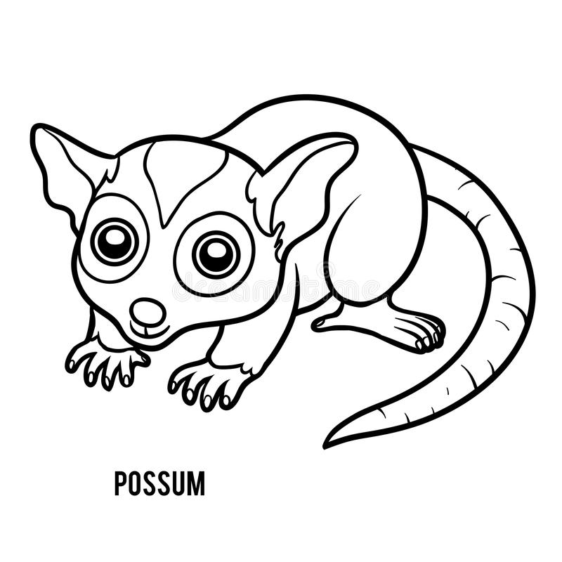 Malbuch, Opossum stock abbildung