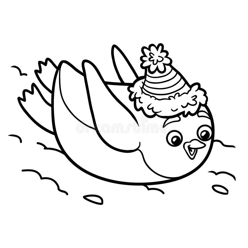 Malbuch, Pinguin Schiebt Vom Berg Vektor Abbildung - Illustration ...